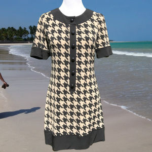 Houndstooth Mini Shift Dress Pullover Stretch 6P